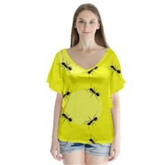 Ant Yellow Circle Flutter Sleeve Top