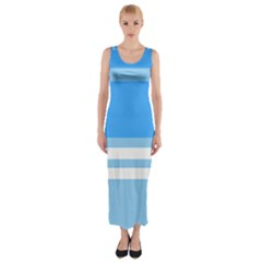 Blue Horizon Graphic Simplified Version Fitted Maxi Dress