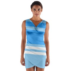 Blue Horizon Graphic Simplified Version Wrap Front Bodycon Dress