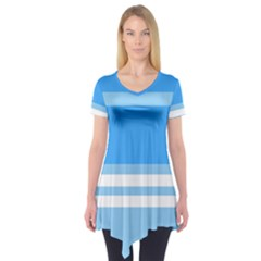 Blue Horizon Graphic Simplified Version Short Sleeve Tunic