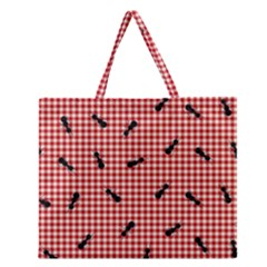 Ant Red Gingham Woven Plaid Tablecloth Zipper Large Tote Bag