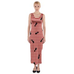 Ant Red Gingham Woven Plaid Tablecloth Fitted Maxi Dress