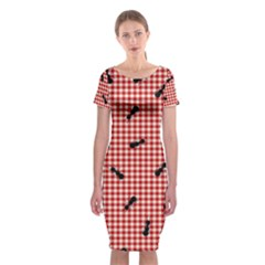 Ant Red Gingham Woven Plaid Tablecloth Classic Short Sleeve Midi Dress