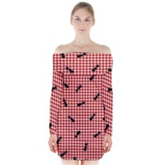 Ant Red Gingham Woven Plaid Tablecloth Long Sleeve Off Shoulder Dress