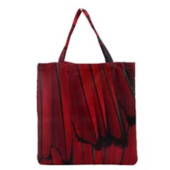 Black Red Flower Bird Feathers Animals Grocery Tote Bag