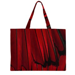 Black Red Flower Bird Feathers Animals Large Tote Bag