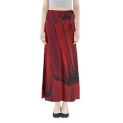 Black Red Flower Bird Feathers Animals Maxi Skirts