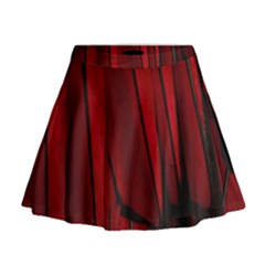 Black Red Flower Bird Feathers Animals Mini Flare Skirt