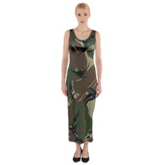 Army Shirt Grey Green Blue Fitted Maxi Dress
