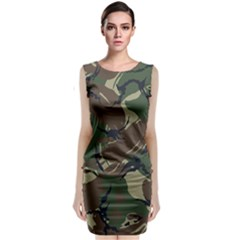 Army Shirt Grey Green Blue Classic Sleeveless Midi Dress