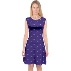 Blue Yellow Sign Capsleeve Midi Dress