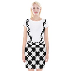 Circles Black White Suspender Skirt