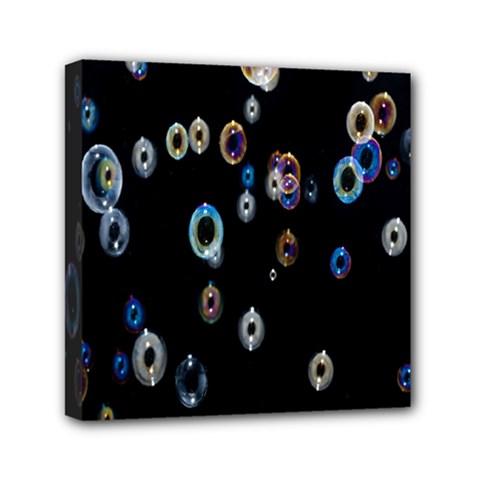 Bubble Light Black Mini Canvas 6  x 6