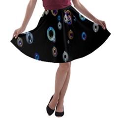 Bubble Light Black A-line Skater Skirt