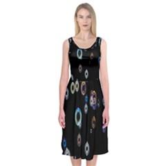 Bubble Light Black Midi Sleeveless Dress