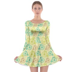 Wheel Bike Round Sport Color Yellow Blue Green Red Pink Long Sleeve Skater Dress