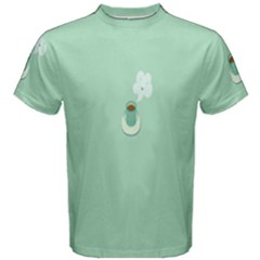 Coffee Desktop Cup Smile Face Blue Men s Cotton Tee