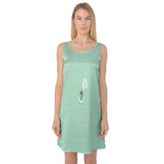 Coffee Desktop Cup Smile Face Blue Sleeveless Satin Nightdress