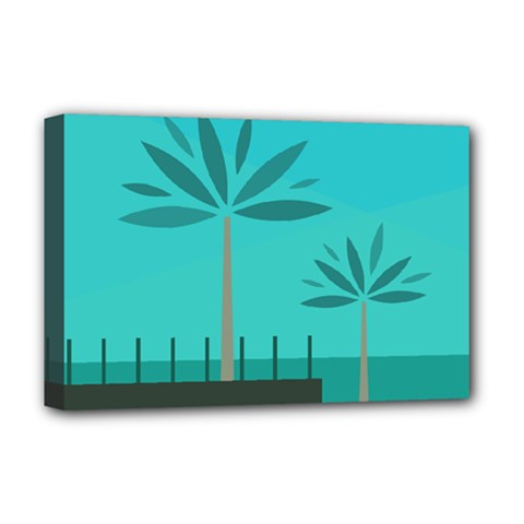 Coconut Palm Trees Sea Deluxe Canvas 18  x 12