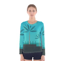 Coconut Palm Trees Sea Women s Long Sleeve Tee