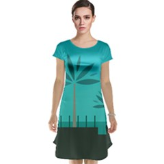 Coconut Palm Trees Sea Cap Sleeve Nightdress