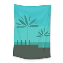 Coconut Palm Trees Sea Small Tapestry