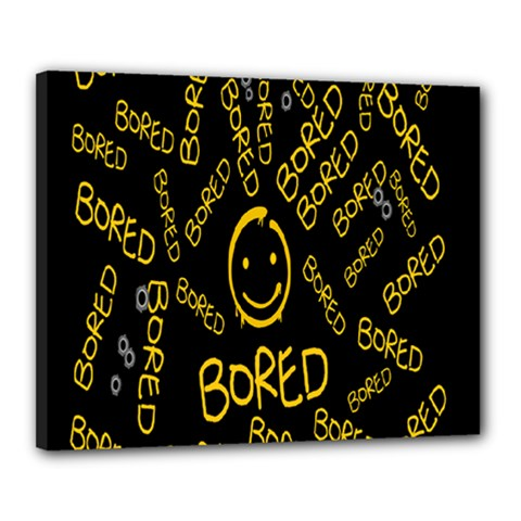 Bored Face Smile Sign Yellow Black Mask Canvas 20  x 16