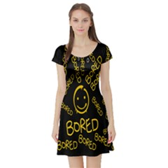 Bored Face Smile Sign Yellow Black Mask Short Sleeve Skater Dress
