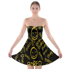 Bored Face Smile Sign Yellow Black Mask Strapless Bra Top Dress
