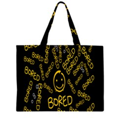 Bored Face Smile Sign Yellow Black Mask Large Tote Bag