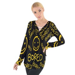 Bored Face Smile Sign Yellow Black Mask Women s Tie Up Tee