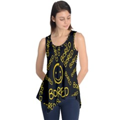 Bored Face Smile Sign Yellow Black Mask Sleeveless Tunic