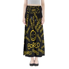 Bored Face Smile Sign Yellow Black Mask Maxi Skirts