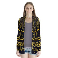 Bored Face Smile Sign Yellow Black Mask Cardigans