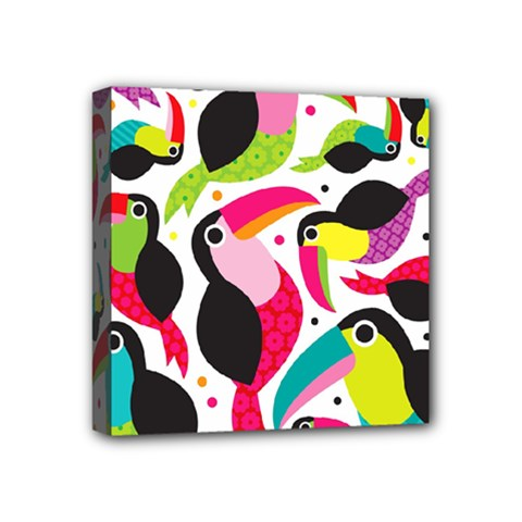 Colorful Toucan Retro Kids Pattern Bird Animals Rainbow Purple Flower Mini Canvas 4  x 4