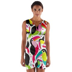 Colorful Toucan Retro Kids Pattern Bird Animals Rainbow Purple Flower Wrap Front Bodycon Dress