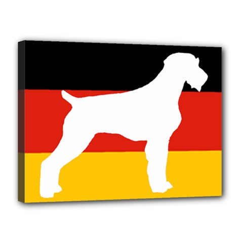 German Wirehaired Pointer Silo On Flag Canvas 16  x 12