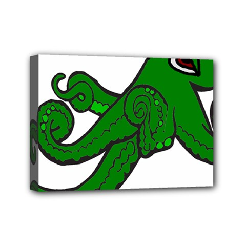 Tentacle Monster Green  Mini Canvas 7  x 5