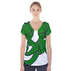 Tentacle Monster Green  Short Sleeve Front Detail Top