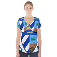 Coat of Arms of Cuba Short Sleeve Front Detail Top