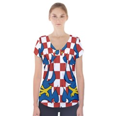Moravia Coat of Arms  Short Sleeve Front Detail Top