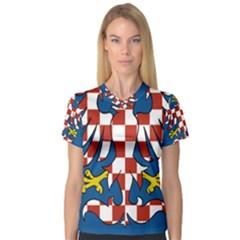Flag of Moravia  Women s V-Neck Sport Mesh Tee