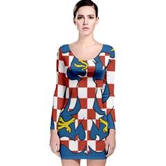 Flag of Moravia  Long Sleeve Velvet Bodycon Dress