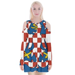 Flag of Moravia  Velvet Long Sleeve Shoulder Cutout Dress