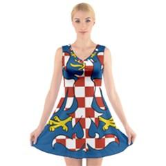 Flag of Moravia V-Neck Sleeveless Skater Dress