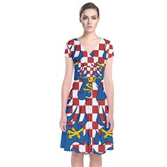 Flag of Moravia Short Sleeve Front Wrap Dress