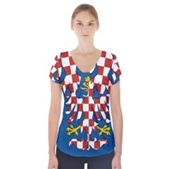 Flag of Moravia Short Sleeve Front Detail Top