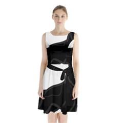 German Shepherd Cartoon Bi Color Sleeveless Chiffon Waist Tie Dress