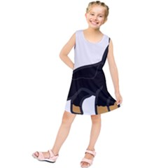 German Shepherd Cartoon Bi Color Kids  Tunic Dress
