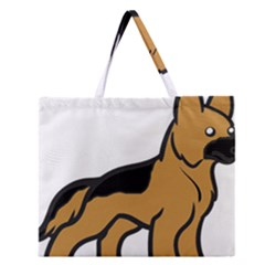 German Shepherd Cartoon Zipper Large Tote Bag